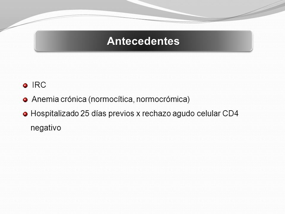 AntecedentesAntecedentes IRC Anemia crónica (normocítica, normocrómica) Hospitalizado 25 días previos x rechazo agudo celular CD4 negativo