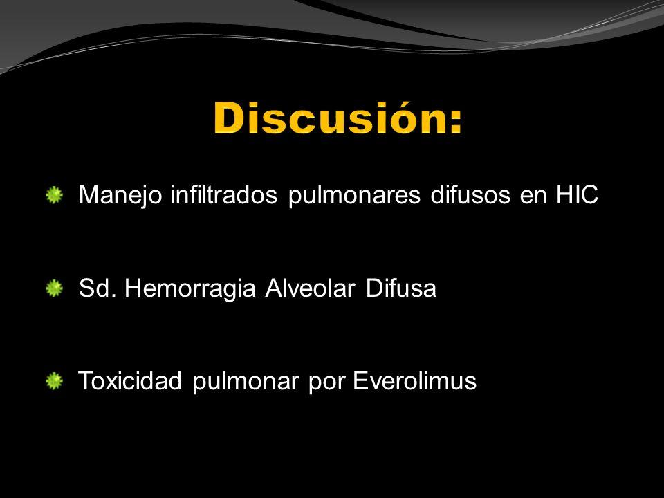 Manejo infiltrados pulmonares difusos en HIC Sd. Hemorragia Alveolar Difusa Toxicidad pulmonar por Everolimus