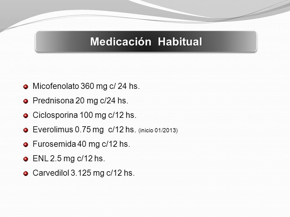 Medicación Habitual Micofenolato 360 mg c/ 24 hs. Prednisona 20 mg c/24 hs. Ciclosporina 100 mg c/12 hs. Everolimus 0.75 mg c/12 hs. (inicio 01/2013)