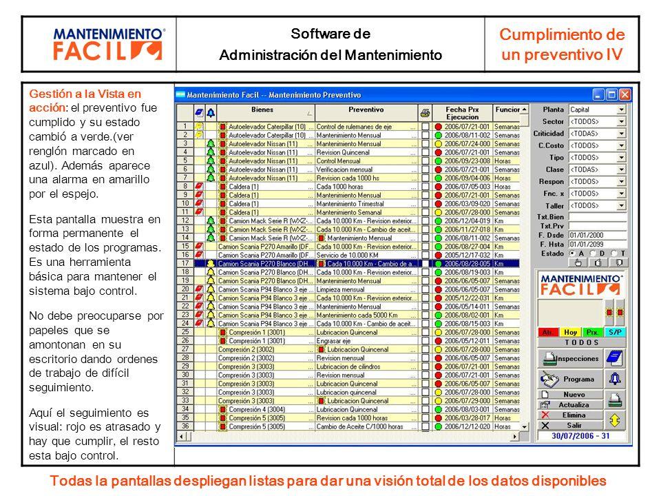 Software de Administración del Mantenimiento Cumplimiento de un preventivo IV Gestión a la Vista en acción: el preventivo fue cumplido y su estado cam