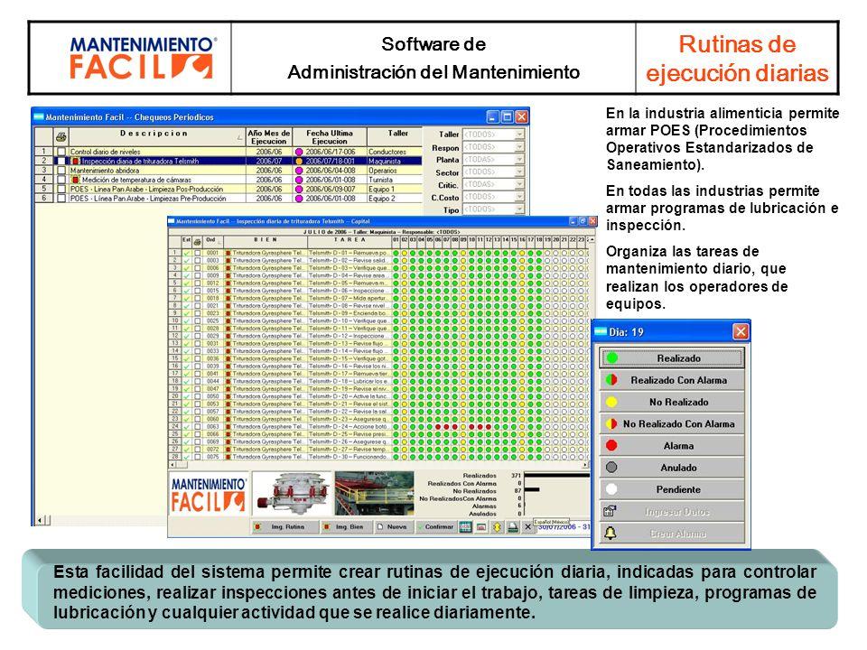 Software de Administración del Mantenimiento Rutinas de ejecución diarias Esta facilidad del sistema permite crear rutinas de ejecución diaria, indica