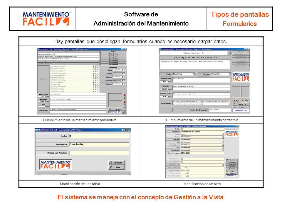 Software de Administración del Mantenimiento Tipos de pantallas Formularios El sistema se maneja con el concepto de Gestión a la Vista Hay pantallas q