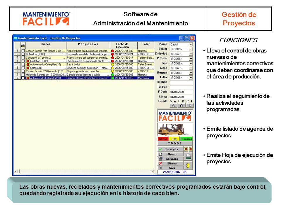 Software de Administración del Mantenimiento Gestión de Proyectos Las obras nuevas, reciclados y mantenimientos correctivos programados estarán bajo c
