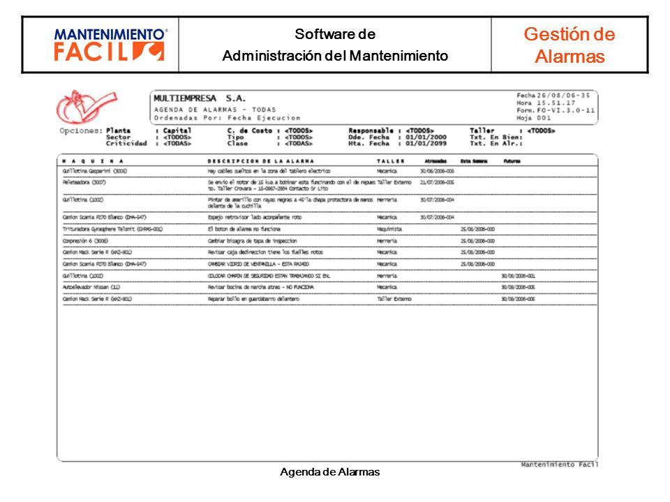 Software de Administración del Mantenimiento Gestión de Alarmas Agenda de Alarmas