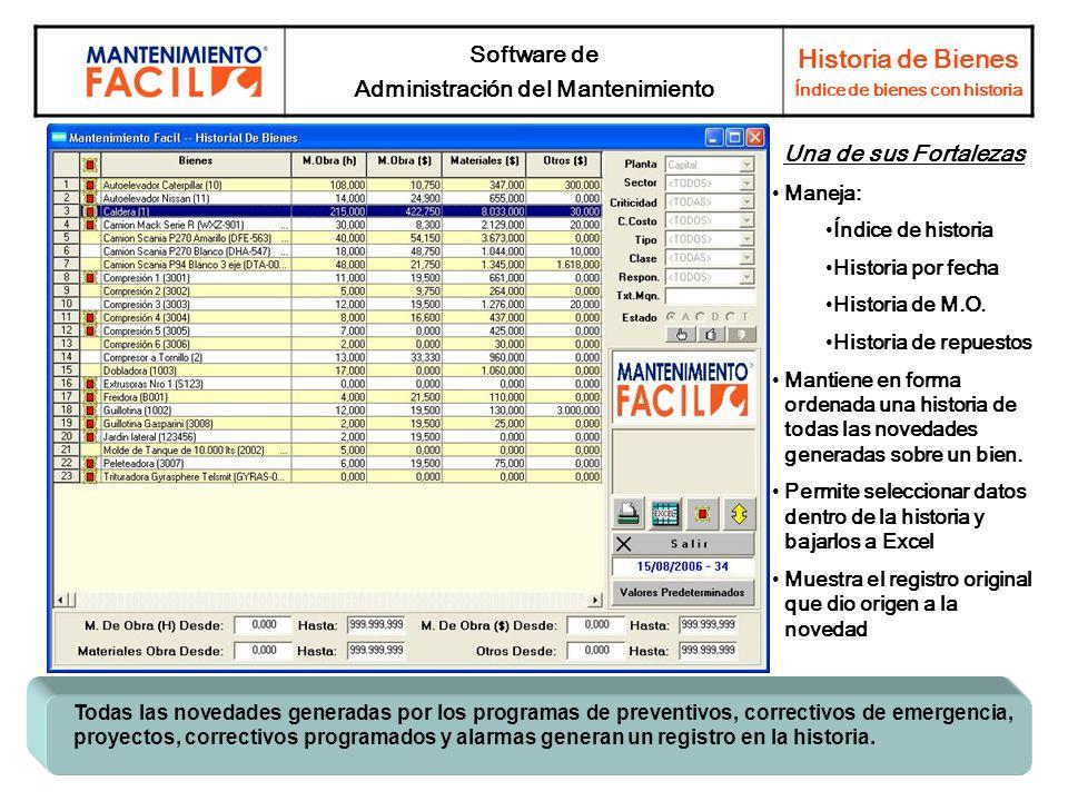 Software de Administración del Mantenimiento Historia de Bienes Índice de bienes con historia Todas las novedades generadas por los programas de preve