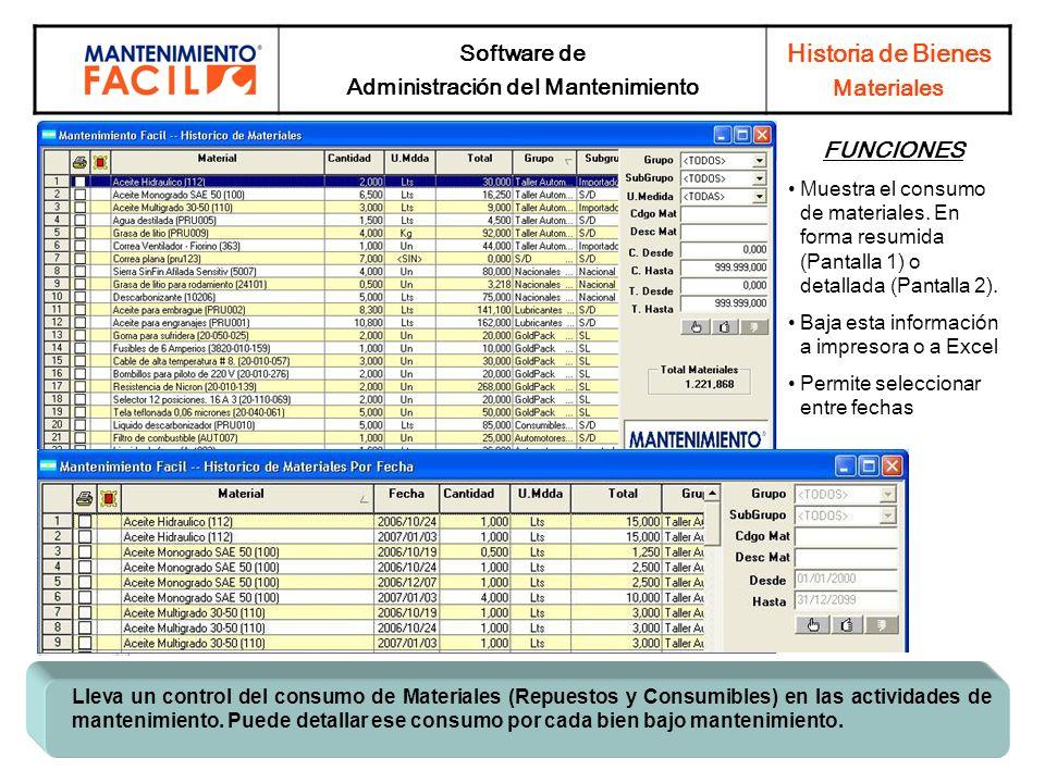 Software de Administración del Mantenimiento Historia de Bienes Materiales Lleva un control del consumo de Materiales (Repuestos y Consumibles) en las