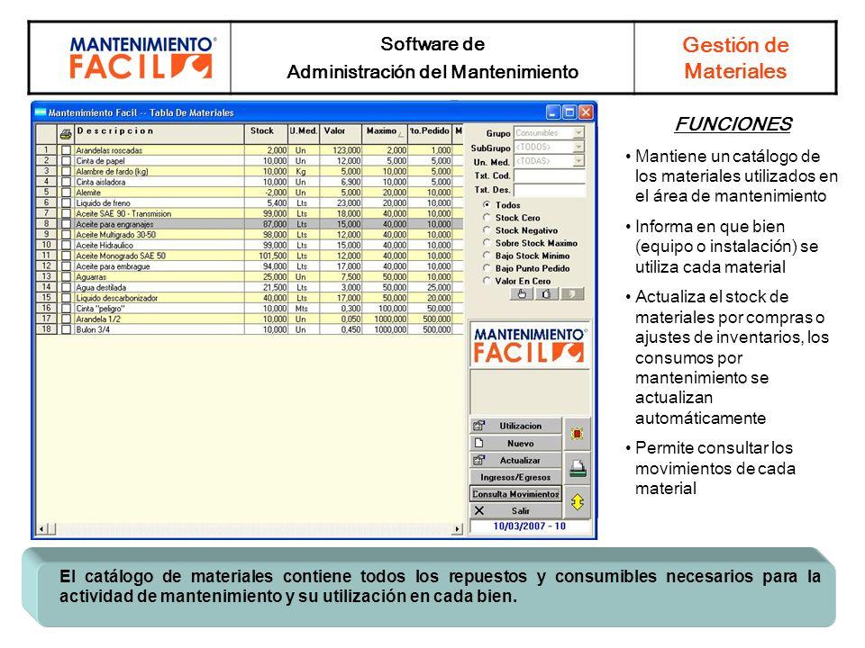 Software de Administración del Mantenimiento Gestión de Materiales El catálogo de materiales contiene todos los repuestos y consumibles necesarios par