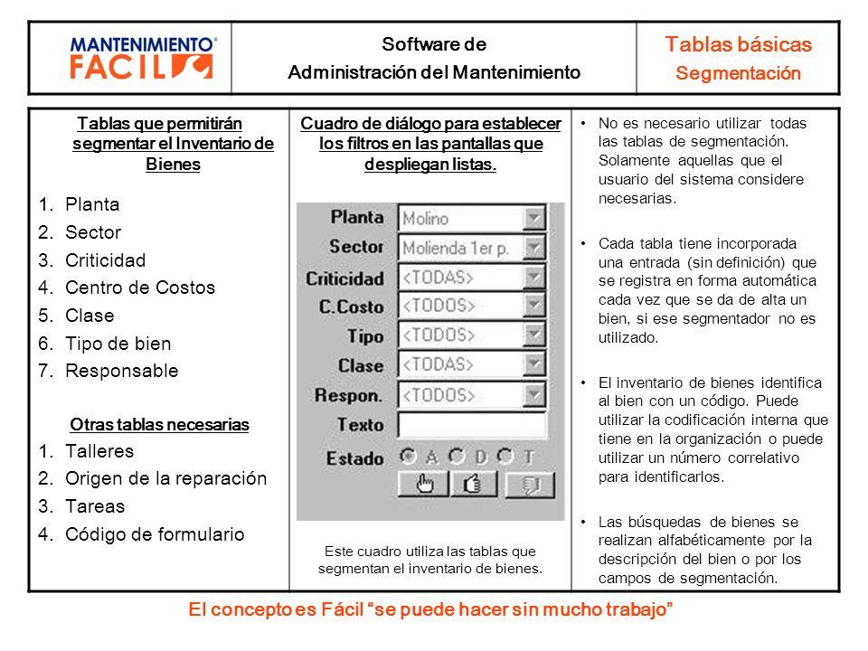 Software de Administración del Mantenimiento Tablas básicas Segmentación Tablas que permitirán segmentar el Inventario de Bienes 1.Planta 2.Sector 3.C