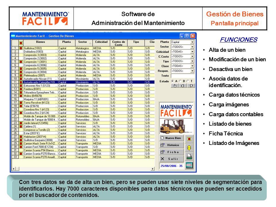Software de Administración del Mantenimiento Gestión de Bienes Pantalla principal FUNCIONES Alta de un bien Modificación de un bien Desactiva un bien