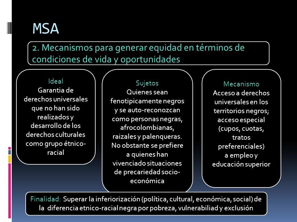 MSA 2. Mecanismos para generar equidad en términos de condiciones de vida y oportunidades Ideal Garantia de derechos universales que no han sido reali