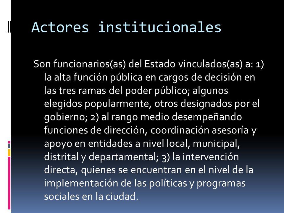 Actores institucionales Son funcionarios(as) del Estado vinculados(as) a: 1) la alta función pública en cargos de decisión en las tres ramas del poder
