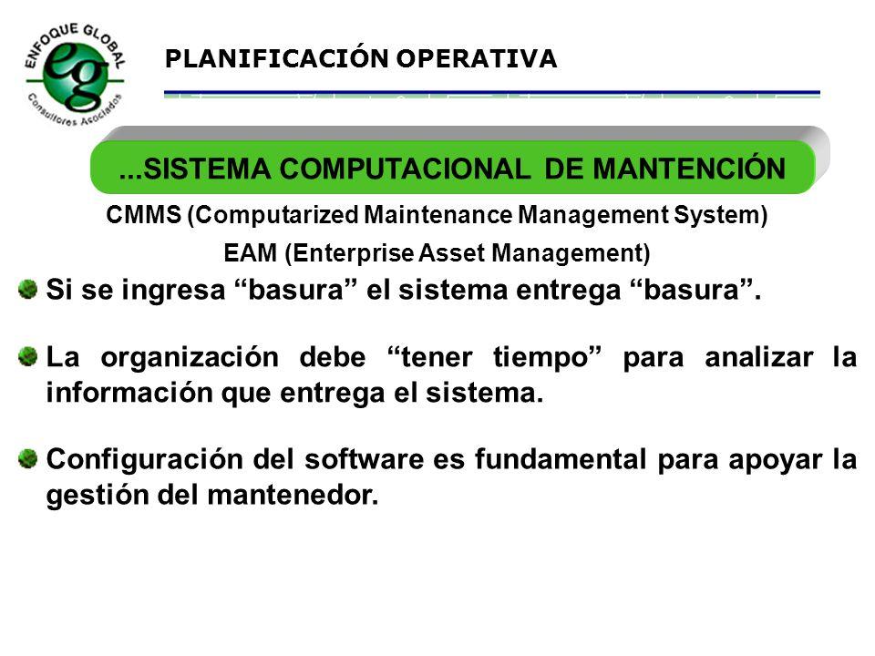 PLANIFICACIÓN OPERATIVA SISTEMA COMPUTACIONAL DE MANTENCIÓN... CMMS (Computarized Maintenance Management System) Requiere pleno INVOLUCRAMIENTO GERENC