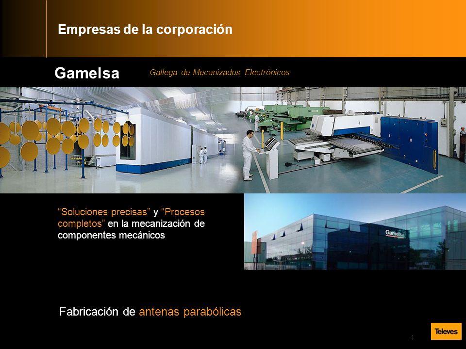 4 Gamelsa Soluciones precisas y Procesos completos en la mecanización de componentes mecánicos Fabricación de antenas parabólicas Gallega de Mecanizados Electrónicos Empresas de la corporación