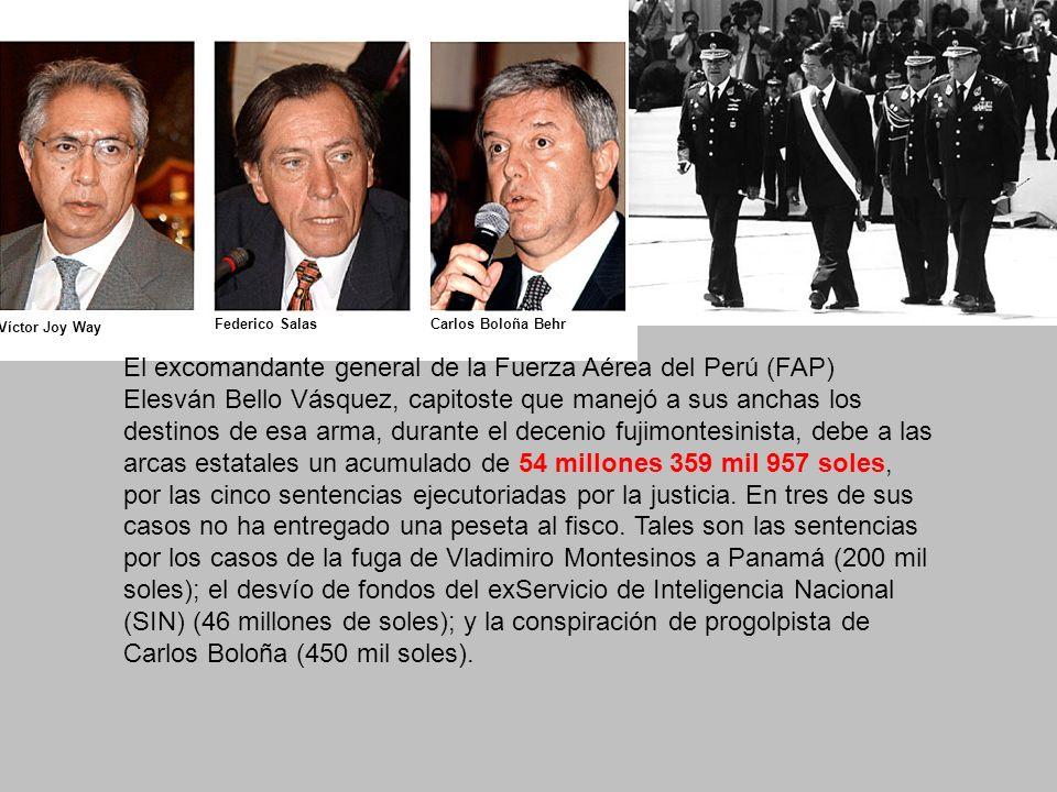 El excomandante general de la Fuerza Aérea del Perú (FAP) Elesván Bello Vásquez, capitoste que manejó a sus anchas los destinos de esa arma, durante el decenio fujimontesinista, debe a las arcas estatales un acumulado de 54 millones 359 mil 957 soles, por las cinco sentencias ejecutoriadas por la justicia.