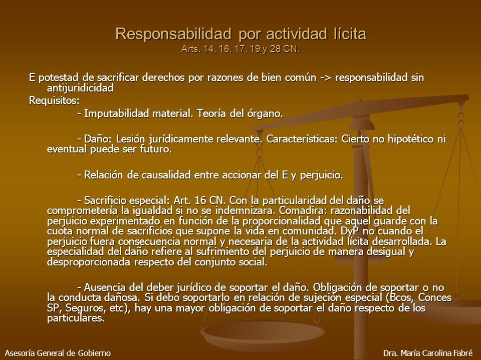 Responsabilidad por actividad lícita Arts. 14, 16, 17, 19 y 28 CN.