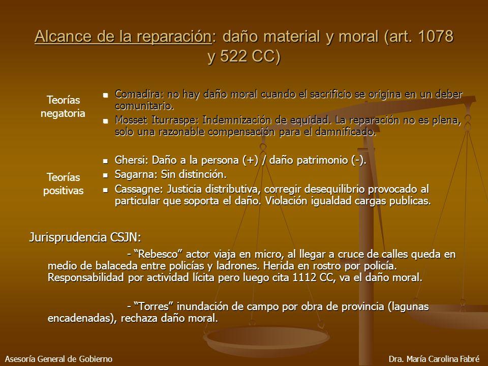 Alcance de la reparación: daño material y moral (art.