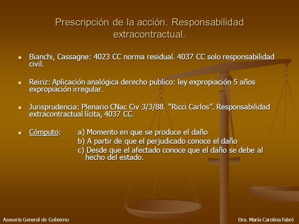 Prescripción de la acción. Responsabilidad extracontractual.