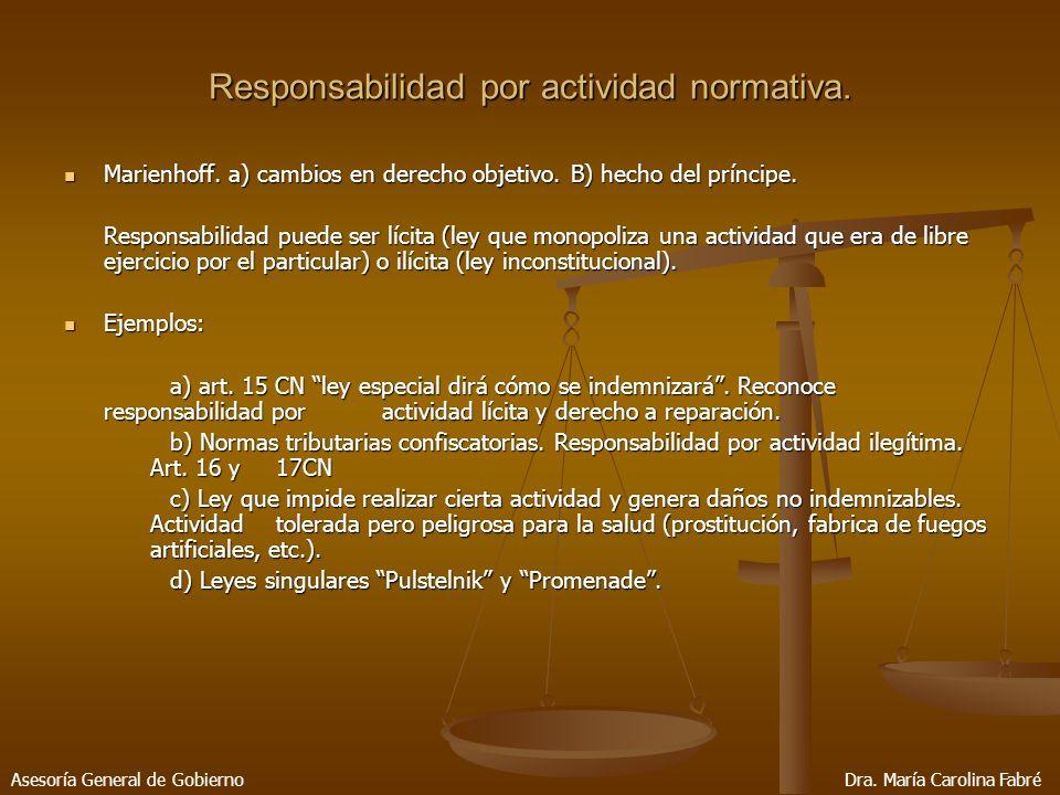 Responsabilidad por actividad normativa. Marienhoff.