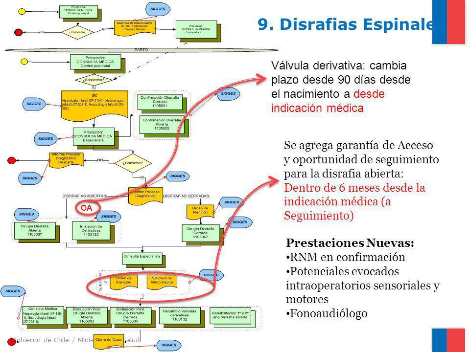Gobierno de Chile / Ministerio de Salud 9. Disrafias Espinales Se agrega garantía de Acceso y oportunidad de seguimiento para la disrafia abierta: Den