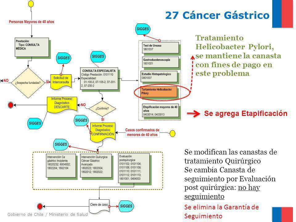 Gobierno de Chile / Ministerio de Salud 27 Cáncer Gástrico Se elimina la Garantía de Seguimiento Tratamiento Helicobacter Pylori, se mantiene la canas