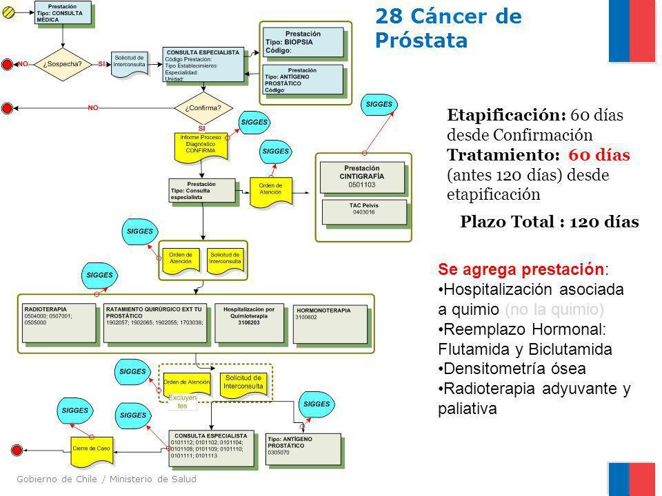 Gobierno de Chile / Ministerio de Salud 28 Cáncer de Próstata Etapificación: 60 días desde Confirmación Tratamiento: 60 días (antes 120 días) desde et