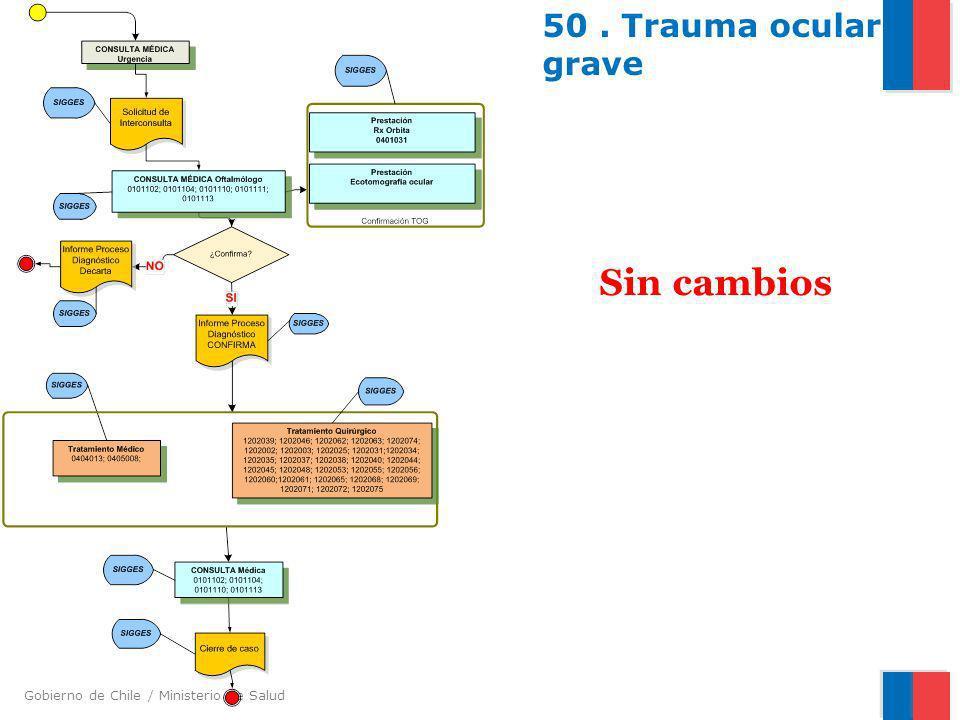 Gobierno de Chile / Ministerio de Salud 50. Trauma ocular grave Sin cambios