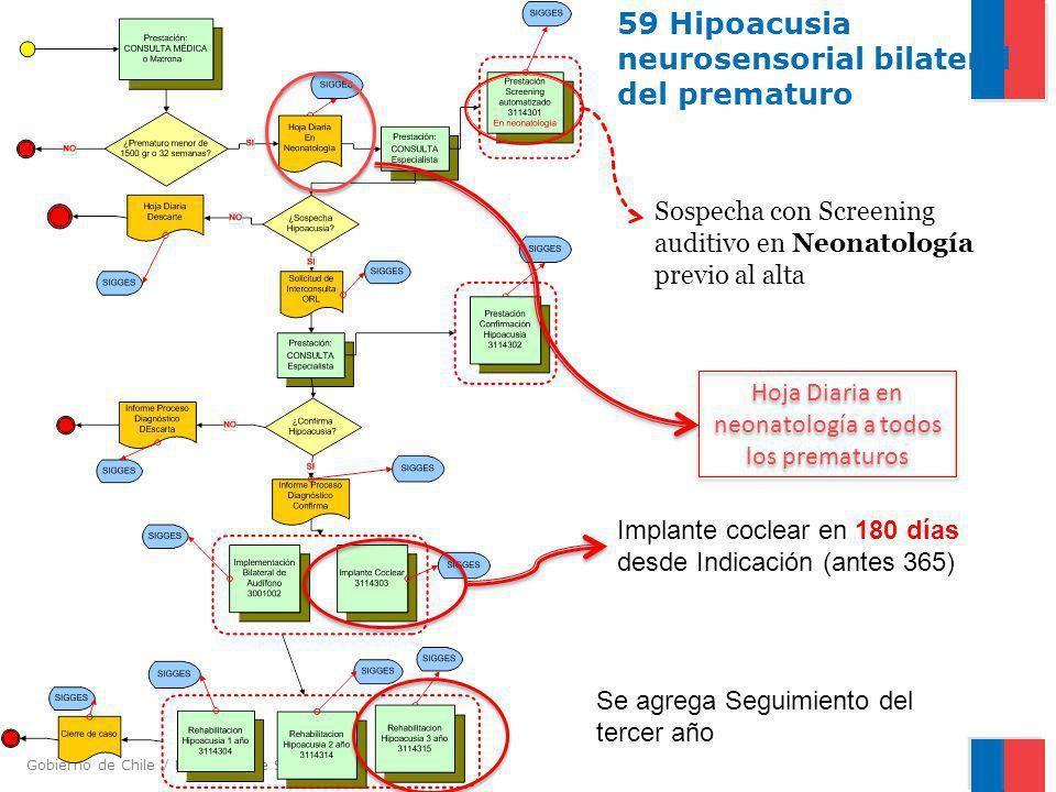 Gobierno de Chile / Ministerio de Salud 59 Hipoacusia neurosensorial bilateral del prematuro Sospecha con Screening auditivo en Neonatología previo al