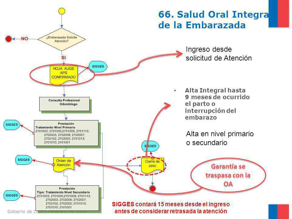 Gobierno de Chile / Ministerio de Salud 66. Salud Oral Integral de la Embarazada Alta Integral hasta 9 meses de ocurrido el parto o interrupción del e