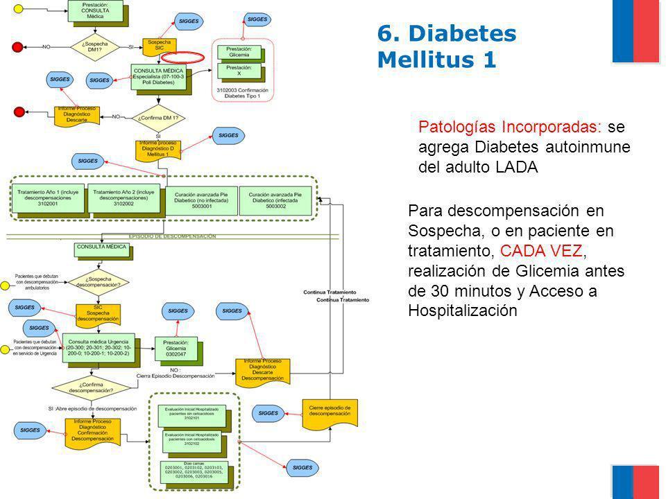 Gobierno de Chile / Ministerio de Salud 6. Diabetes Mellitus 1 Patologías Incorporadas: se agrega Diabetes autoinmune del adulto LADA Para descompensa
