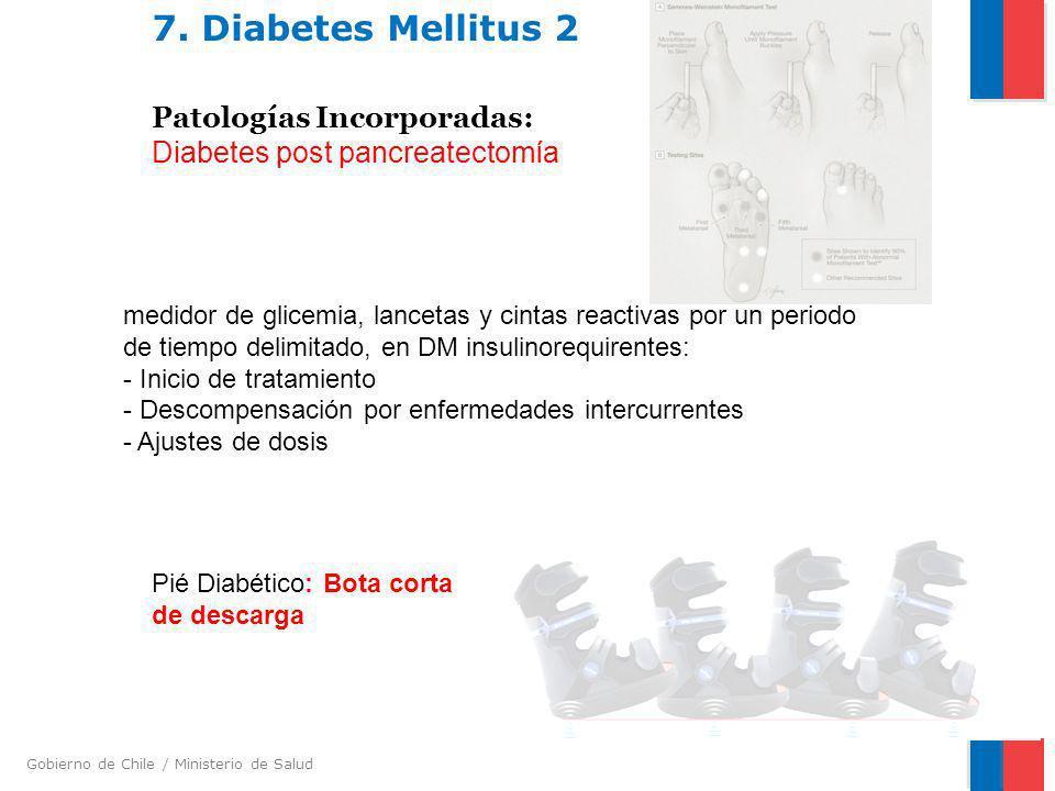 Gobierno de Chile / Ministerio de Salud 7. Diabetes Mellitus 2 Patologías Incorporadas: Diabetes post pancreatectomía Pié Diabético: Bota corta de des