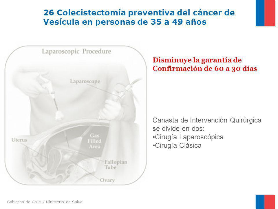 Gobierno de Chile / Ministerio de Salud 26 Colecistectomía preventiva del cáncer de Vesícula en personas de 35 a 49 años Disminuye la garantía de Conf