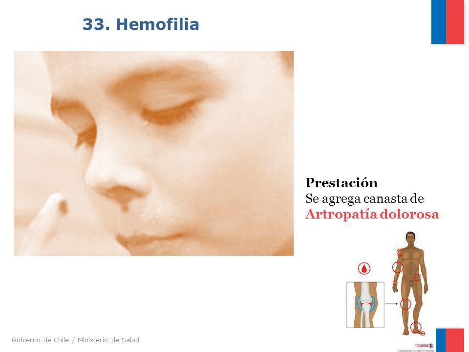 Gobierno de Chile / Ministerio de Salud 33. Hemofilia Prestación Se agrega canasta de Artropatía dolorosa
