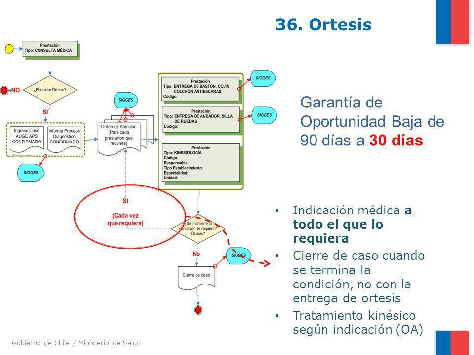 Gobierno de Chile / Ministerio de Salud 36. Ortesis Indicación médica a todo el que lo requiera Cierre de caso cuando se termina la condición, no con