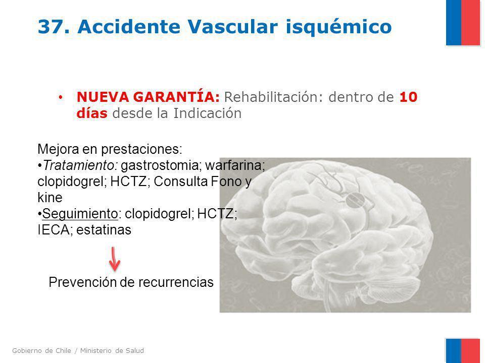 Gobierno de Chile / Ministerio de Salud 37. Accidente Vascular isquémico NUEVA GARANTÍA: Rehabilitación: dentro de 10 días desde la Indicación Mejora