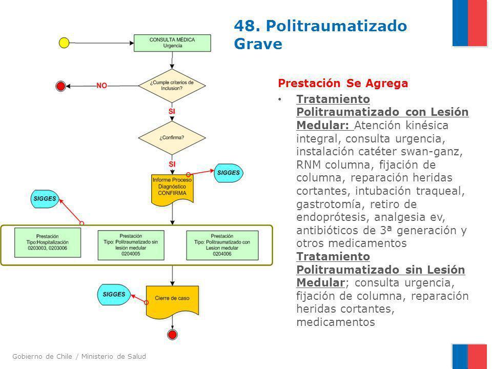 Gobierno de Chile / Ministerio de Salud 48. Politraumatizado Grave Prestación Se Agrega Tratamiento Politraumatizado con Lesión Medular: Atención kiné