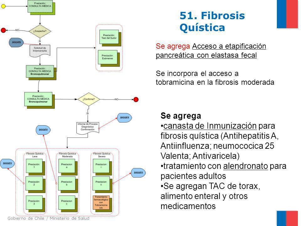 Gobierno de Chile / Ministerio de Salud 51. Fibrosis Quística Se agrega Acceso a etapificación pancreática con elastasa fecal Se incorpora el acceso a