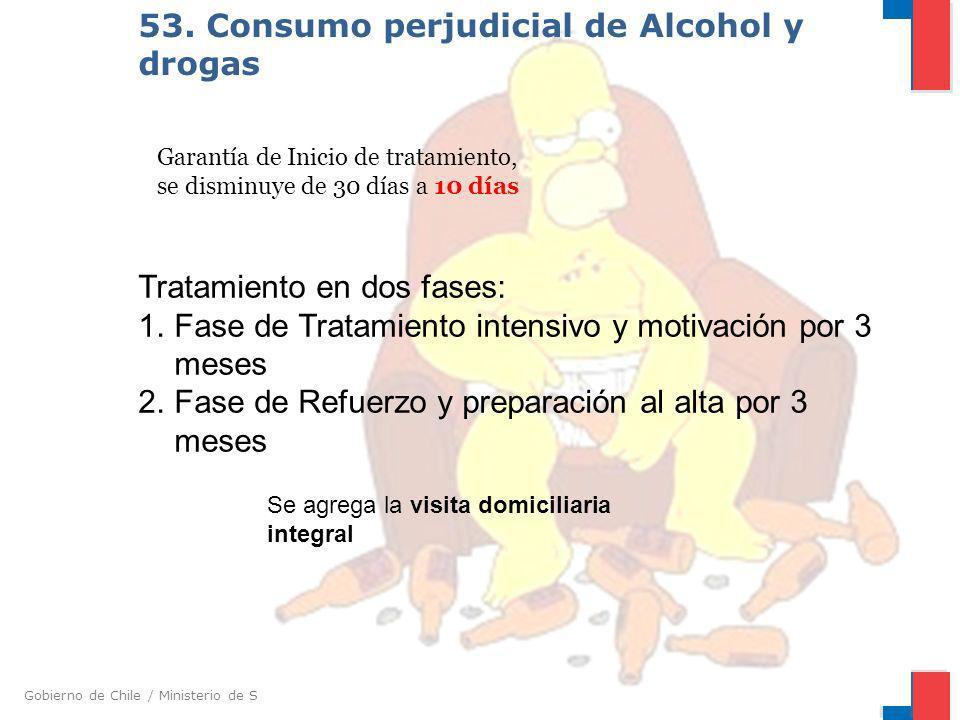 Gobierno de Chile / Ministerio de Salud 53. Consumo perjudicial de Alcohol y drogas Garantía de Inicio de tratamiento, se disminuye de 30 días a 10 dí