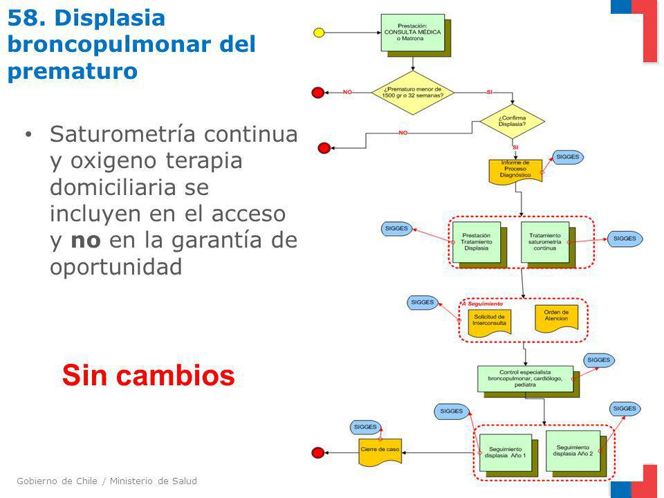 Gobierno de Chile / Ministerio de Salud 58. Displasia broncopulmonar del prematuro Saturometría continua y oxigeno terapia domiciliaria se incluyen en