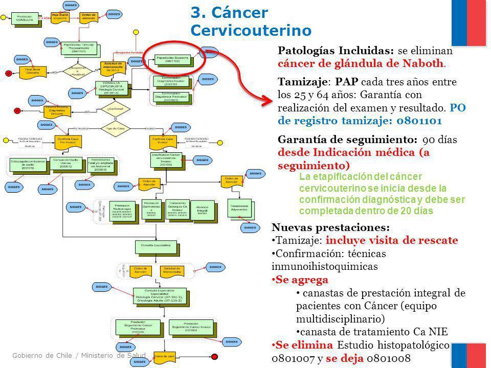 Gobierno de Chile / Ministerio de Salud 3. Cáncer Cervicouterino Tamizaje: PAP cada tres años entre los 25 y 64 años: Garantía con realización del exa