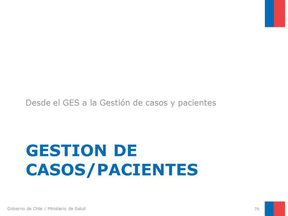 Gobierno de Chile / Ministerio de Salud GESTION DE CASOS/PACIENTES Desde el GES a la Gestión de casos y pacientes 79