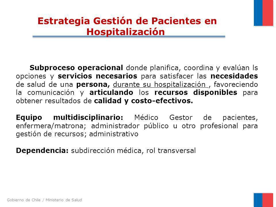 Gobierno de Chile / Ministerio de Salud Subproceso operacional donde planifica, coordina y evalúan ls opciones y servicios necesarios para satisfacer