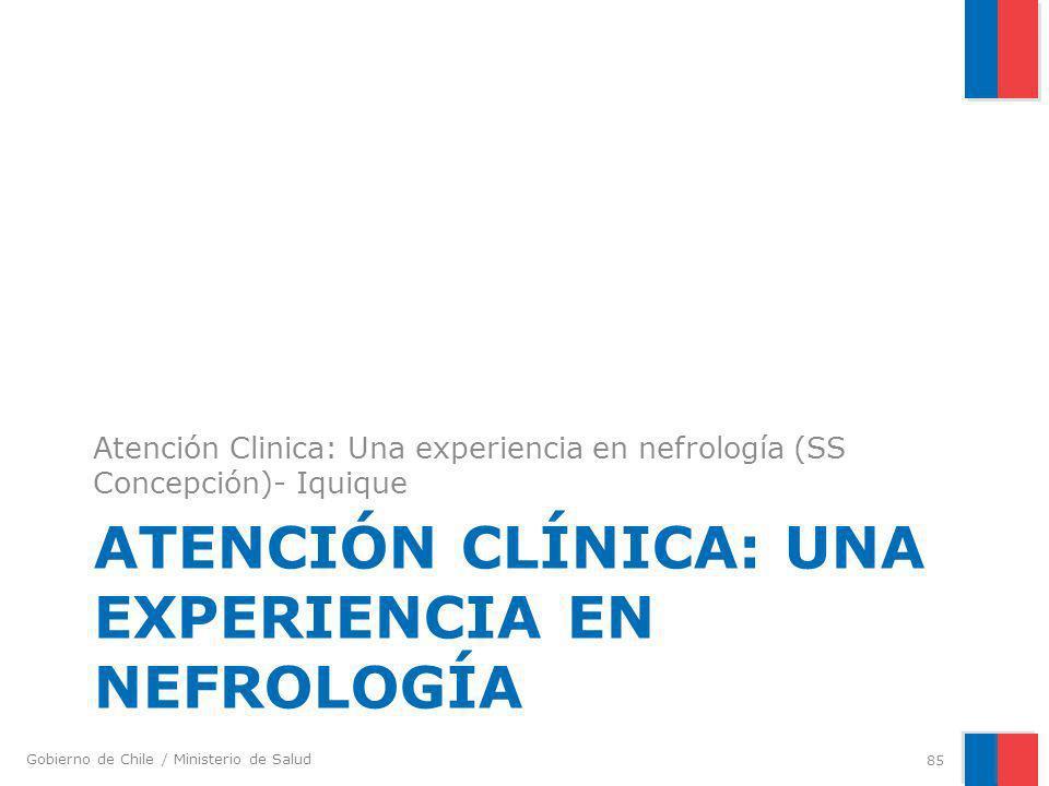Gobierno de Chile / Ministerio de Salud ATENCIÓN CLÍNICA: UNA EXPERIENCIA EN NEFROLOGÍA Atención Clinica: Una experiencia en nefrología (SS Concepción