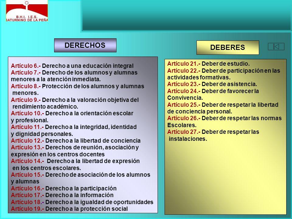 Artículo 6.- Derecho a una educación integral Artículo 7.- Derecho de los alumnos y alumnas menores a la atención inmediata. Artículo 8.- Protección d