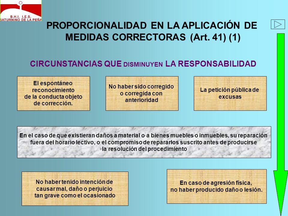 PROPORCIONALIDAD EN LA APLICACIÓN DE MEDIDAS CORRECTORAS (Art. 41) (1) CIRCUNSTANCIAS QUE DISMINUYEN LA RESPONSABILIDAD El espontáneo reconocimiento d