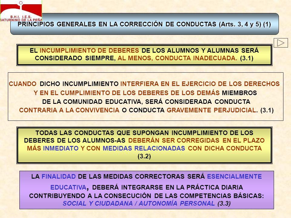 PRINCIPIOS GENERALES EN LA CORRECCIÓN DE CONDUCTAS (Arts. 3, 4 y 5)(1) PRINCIPIOS GENERALES EN LA CORRECCIÓN DE CONDUCTAS (Arts. 3, 4 y 5) (1) CUANDO