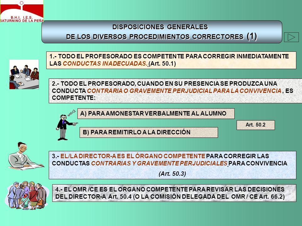 DISPOSICIONES GENERALES DE LOS DIVERSOS PROCEDIMIENTOS CORRECTORES (1) 1.- TODO EL PROFESORADO ES COMPETENTE PARA CORREGIR INMEDIATAMENTE LAS CONDUCTA