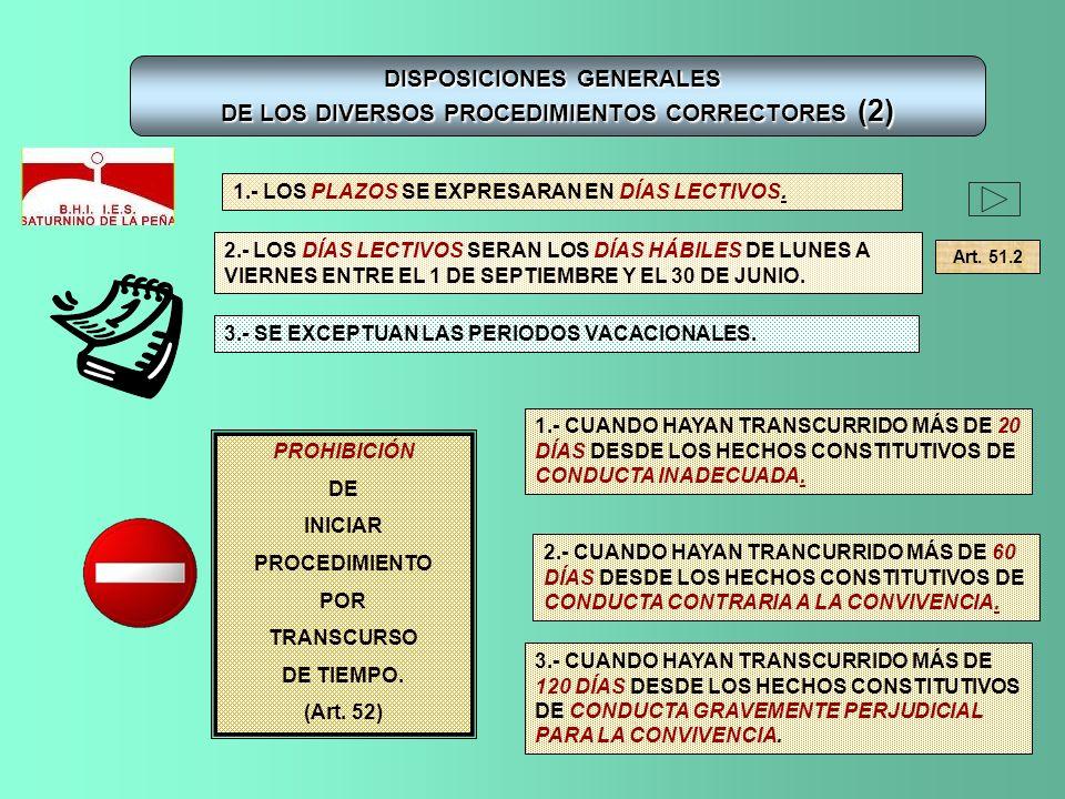 DISPOSICIONES GENERALES DE LOS DIVERSOS PROCEDIMIENTOS CORRECTORES (2) 1.- LOS PLAZOS SE EXPRESARAN EN DÍAS LECTIVOS. 2.- LOS DÍAS LECTIVOS SERAN LOS
