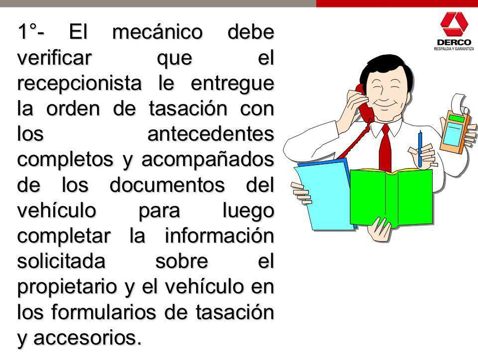 PROCEDIMIENTO PARA EL CHEQUEO TECNICO Y LLENADO DEL FORMULARIO DE TASACION (MECANICO)