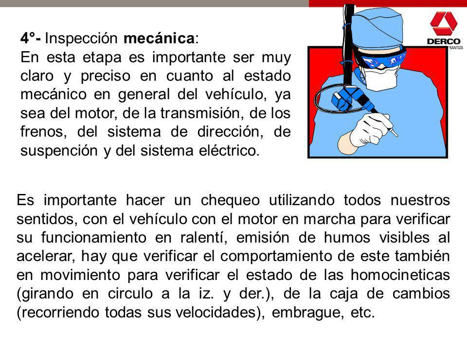 3°- Inspección visual del interior del vehículo: En esta etapa de la inspección es importante preocuparse de que todas las piezas y componentes se enc