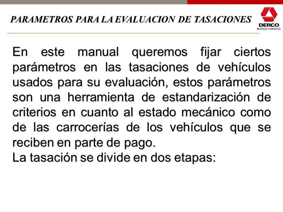 En este manual queremos fijar ciertos parámetros en las tasaciones de vehículos usados para su evaluación, estos parámetros son una herramienta de estandarización de criterios en cuanto al estado mecánico como de las carrocerías de los vehículos que se reciben en parte de pago.